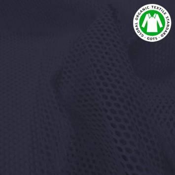Tissu filet mesh bleu marine en coton bio