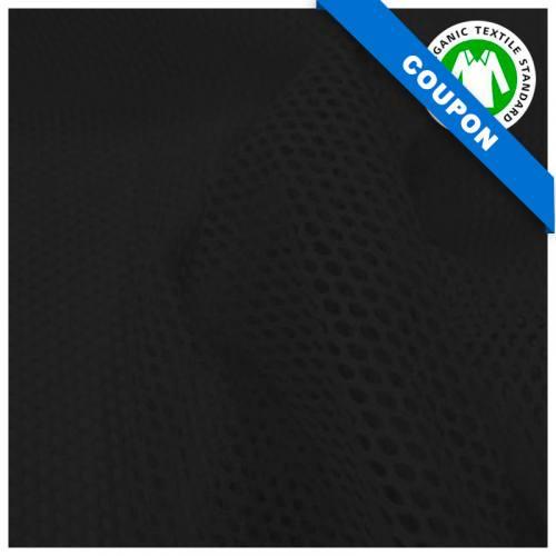 Coupon 85x50 cm - Tissu filet mesh noir en coton bio