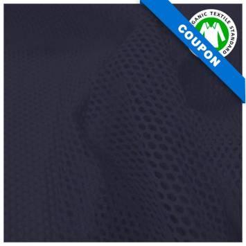 Coupon 85x50 cm - Tissu filet mesh bleu marine coton bio