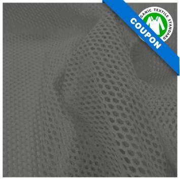 Coupon 85x50 cm - Tissu filet mesh gris foncé coton bio