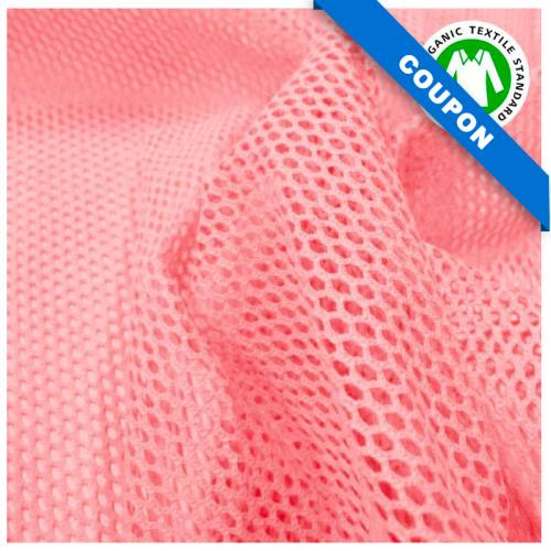 Coupon 85x50 cm - Tissu filet mesh rose bonbon en coton bio