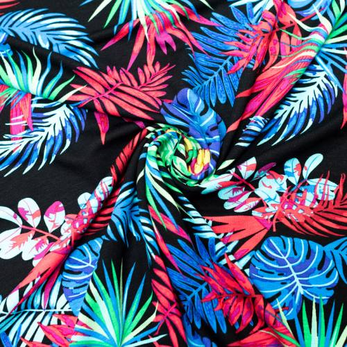 Jersey viscose noir motif feuille tropicale rose bleue verte