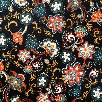 Jersey viscose noir motif fleur cachemire ocre et rouge