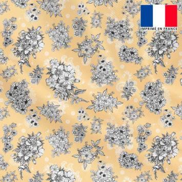 Tissu microfibre abricot pastel motif floral fond cachemire