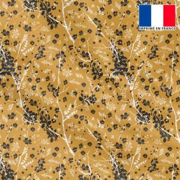 Tissu microfibre ocre motif fleur japonaise noire