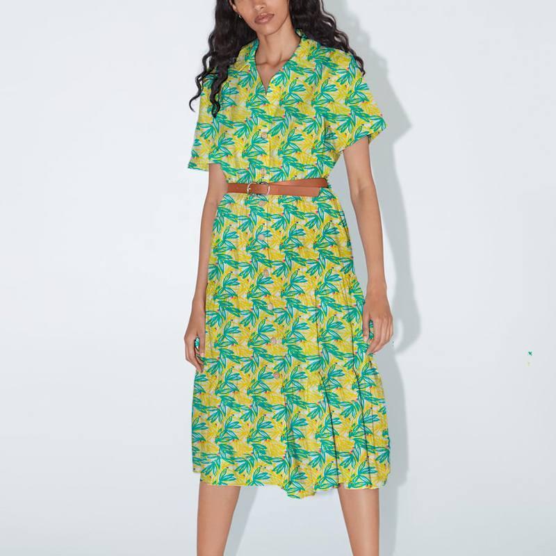 Coton blanc motif feuillage jaune et vert nabali