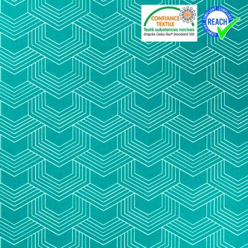 Coton vert émeraude motif géométrique blanc orto