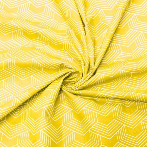 Coton jaune motif géométrique blanc orto