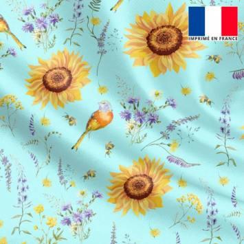 Satin bleu azurin motif tournesol jaune soleil