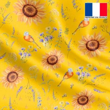 Satin jaune motif tournesol jaune soleil