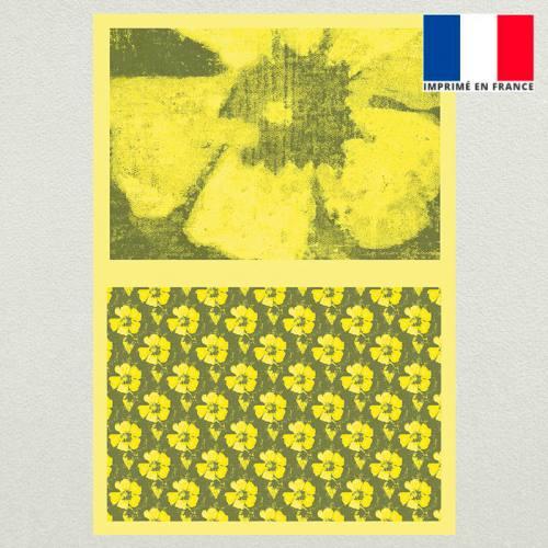 Kit pochette velours ras vert motif fleur de tiaré jaune et fermeture offerte - Création Marie-Eva