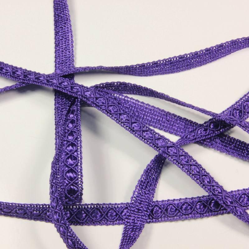 Ruban 12 mm violet à motifs