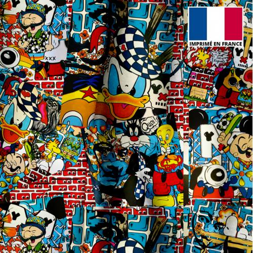 Velours ras motif patchwork pop culture - Création Anne-Sophie Dozoul