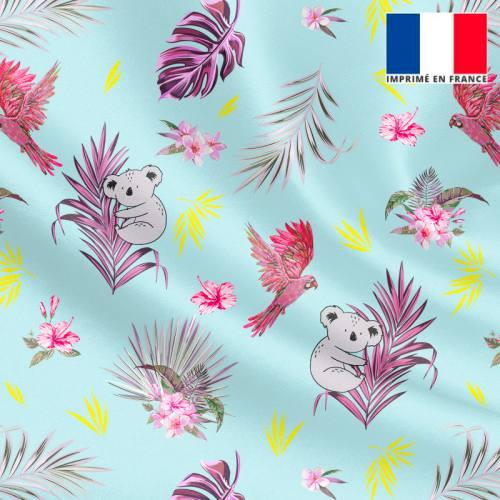Satin bleu ciel motif koala et feuille de palmier