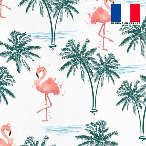 Tissu microfibre écru motif palmier bleu canard et flamant rose