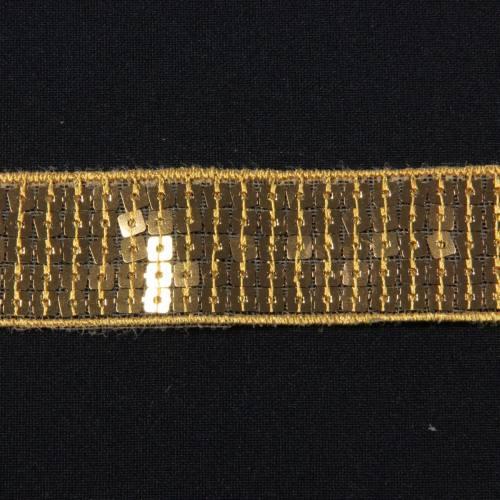 Galon paillettes carrées or