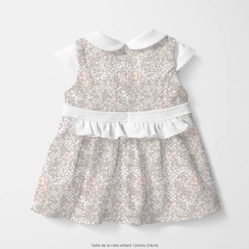 Coton écru motif fleurs des champs lin et rose