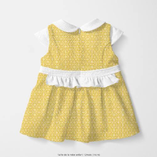 Coton jaune motif asanoha doré fleur blanche