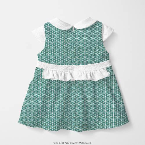 Coton vert pin motif asanoha doré