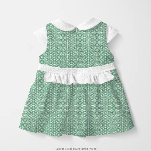 Coton vert émeraude motif asanoha fleur doré