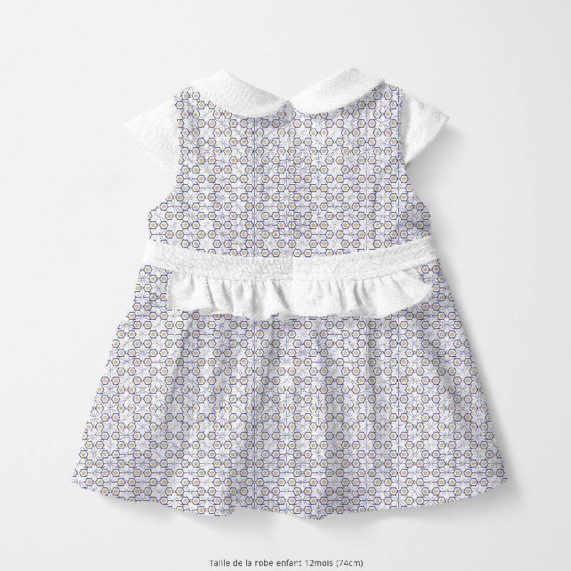 Coton blanc motif asanoha bleu marine fleur ocre