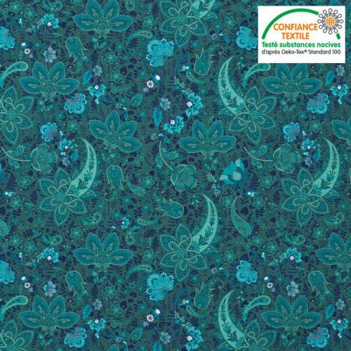 Coton turquoise motif cachemire bleu