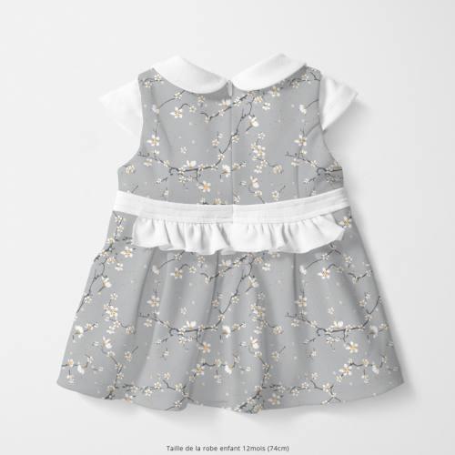 Coton gris motif fleur de cerisier