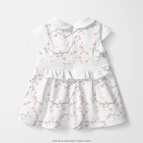 Coton écru motif fleur de cerisier rose