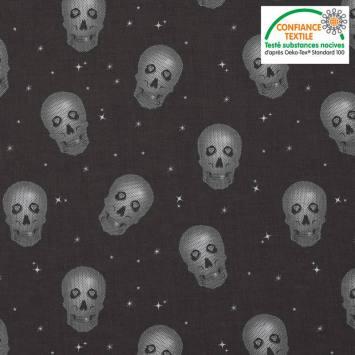 Coton noir motif tête de mort argent