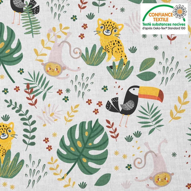 Coton blanc motif animaux de la jungle