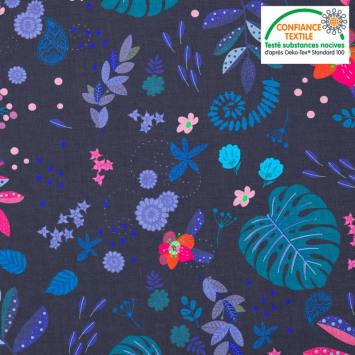 Coton bleu marine motif mur floral bleu et rose