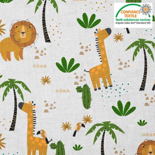 Coton blanc motif savane lion et girafe ocre