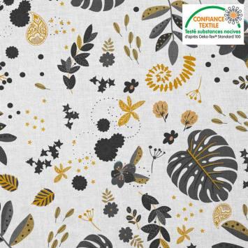 Coton blanc motif mur floral noir et doré