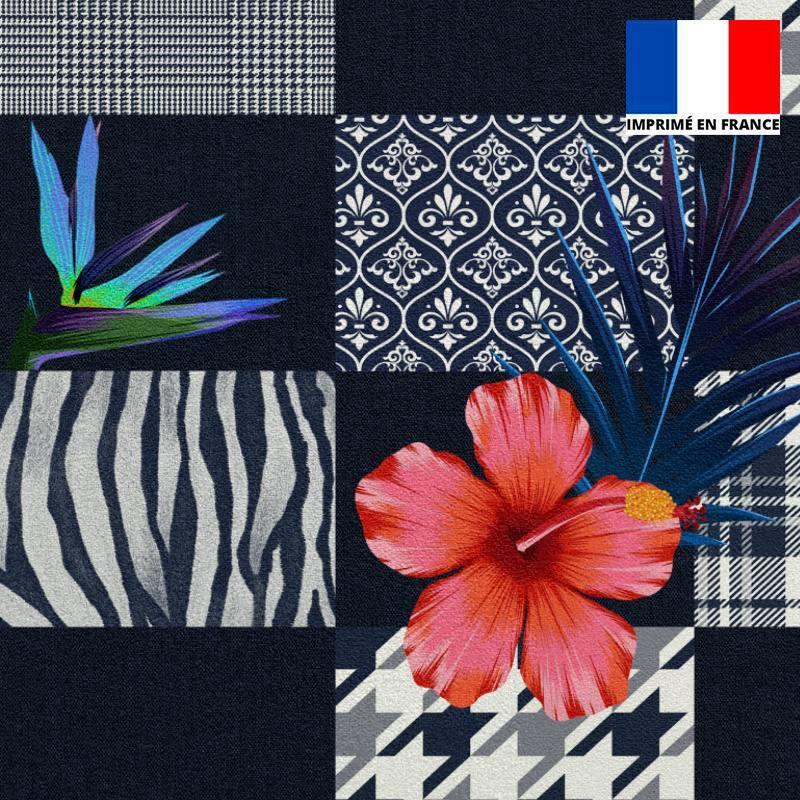Velours ras bleu marine motif patchwork géométrique et oiseau du paradis