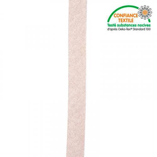 Biais replié rose nude fil argenté 20 mm