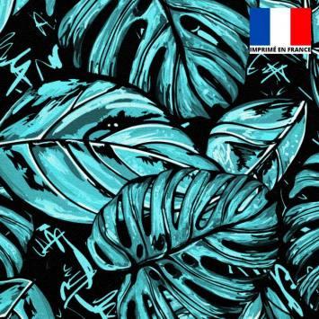 Velours ras noir motif feuille pop bleue et blanche