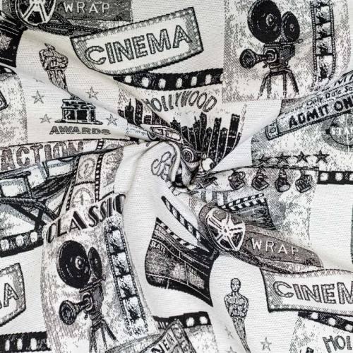 Jacquard blanc cassé et noir motif cinéma