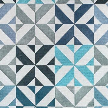 Jacquard bleu motif géométrique