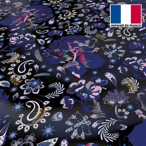 Tissu microfibre noir motif tableau floral