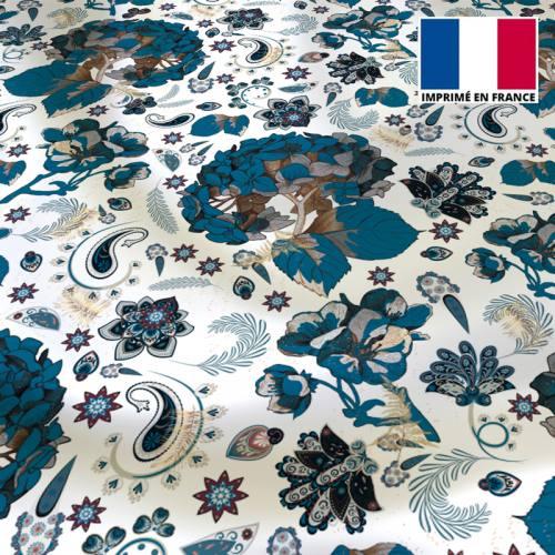 Satin écru motif tableau floral