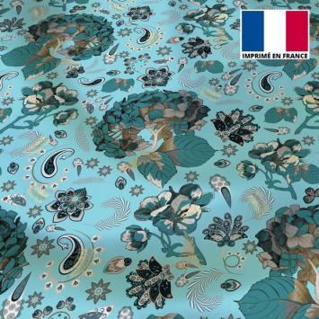 Tissu microfibre bleu ciel motif tableau floral