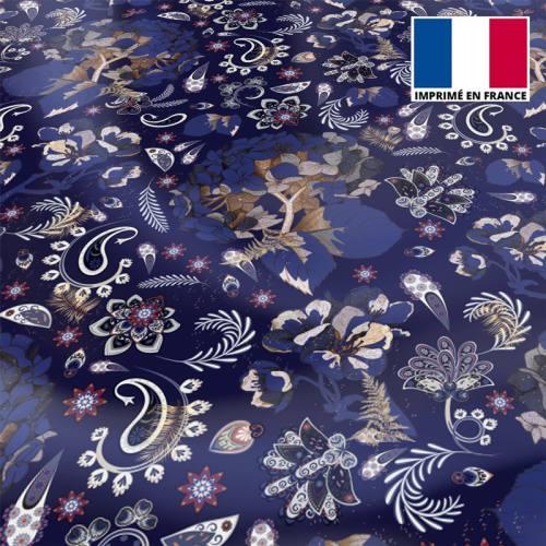 Tissu microfibre bleu nuit motif tableau floral