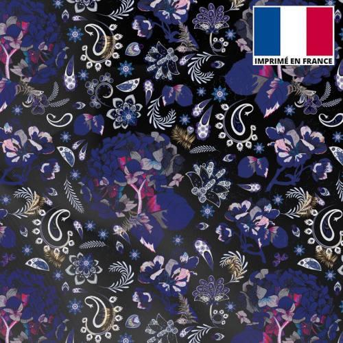 Mousseline crêpe noir motif tableau floral