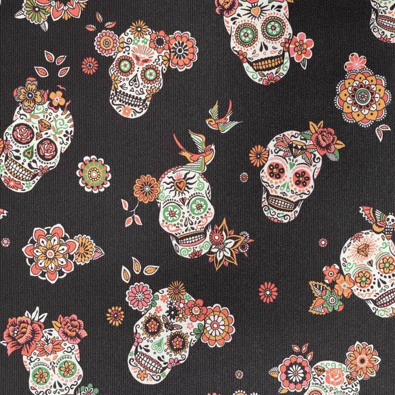 Coupon 50x68 cm - Simili cuir noir motif calavera et fleur