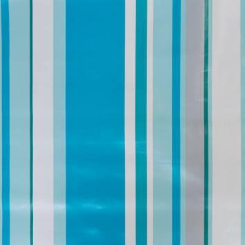 Toile cirée rayée bleu blanc et gris