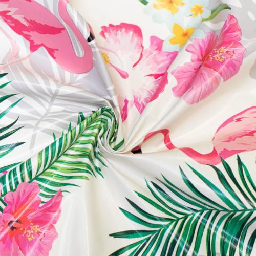 Toile cirée écru motif flamant rose