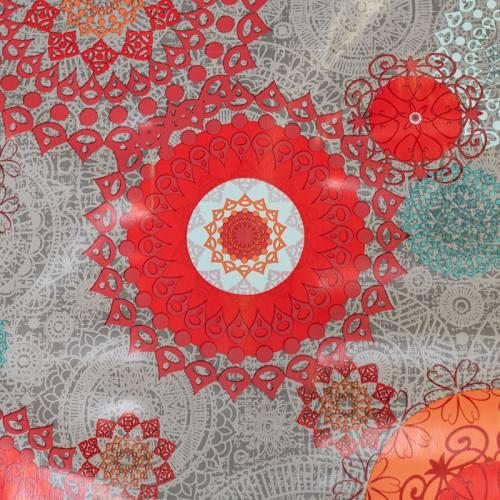 Toile cirée marron motif rosace ethnique rouge