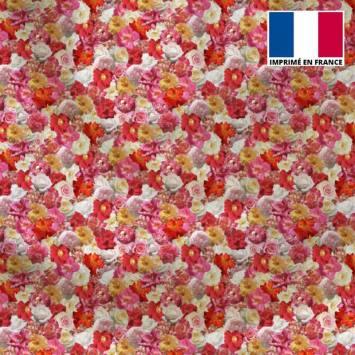 Satin motif milles et une fleurs roses et jaunes