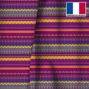 Velours ras multicolore motif ethnique géométrique