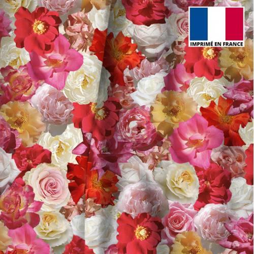 Velours motif milles et une fleurs roses et jaunes